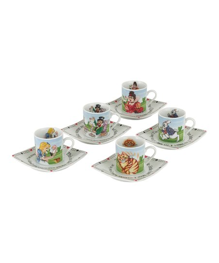Alice in Wonderland Cup & Saucer – Set of Five