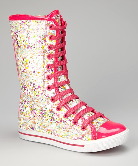 Hot Pink Confetti Luv Knee-High Sneaker