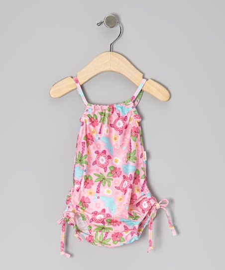 Light Pink Sea Life One-Piece - Infant, Toddler & Girls
