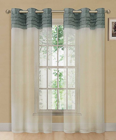 Blue & Beige East Gate Pleated Voile Curtain Panel