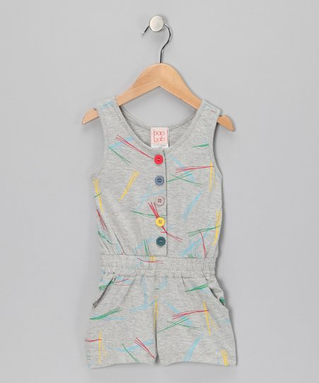Gray Pine Needle Organic Romper - Toddler & Girls