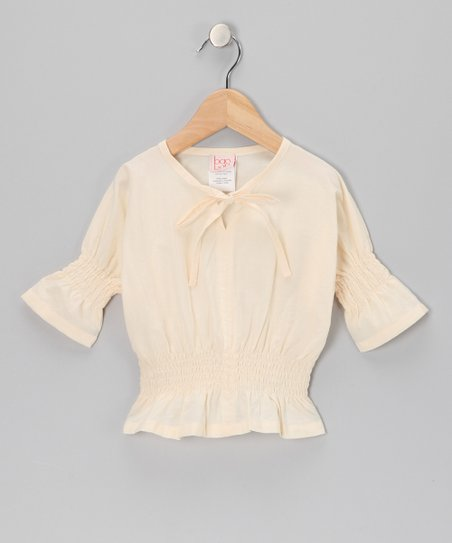 Pale Sand Shirred Top -Toddler & Girls