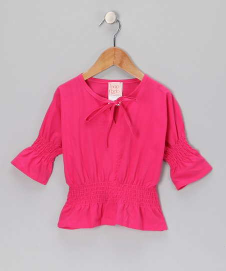 Pink Cherry Shirred Top - Toddler & Girls