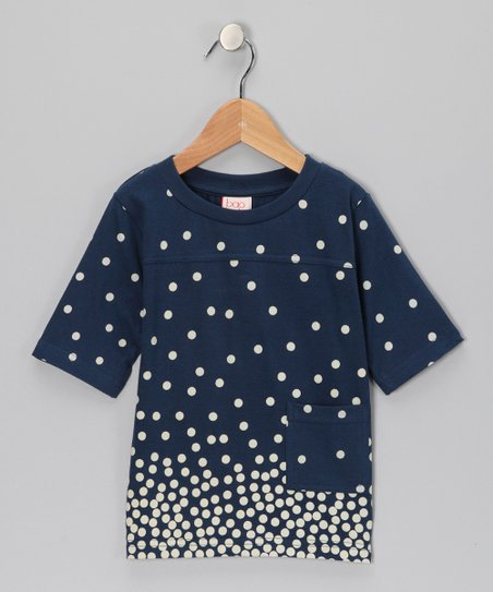 Navy Polka Dot Organic Tee - Toddler & Girls