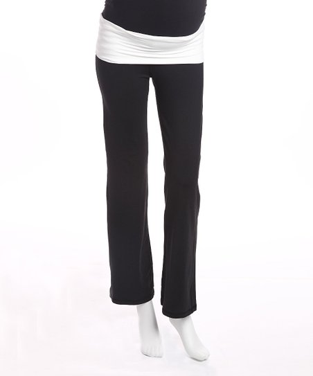 Black & White Color Block Under-Belly Maternity Pants - Women