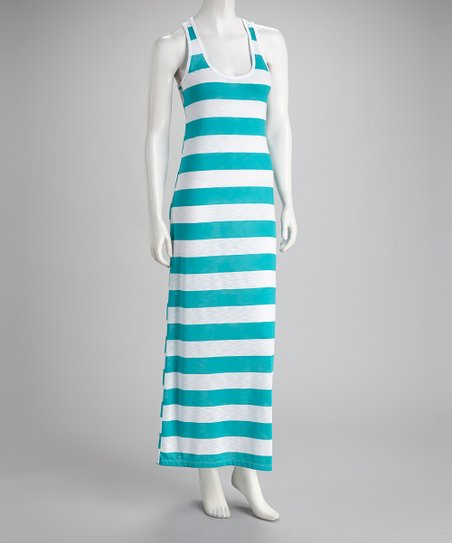White & Aquamarine Stripe Maxi Dress