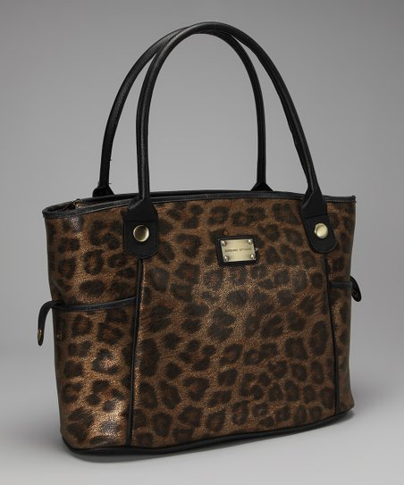 Gold Metallic Leopard Laptop Tote