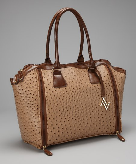 Tan Ostrich Laptop Tote