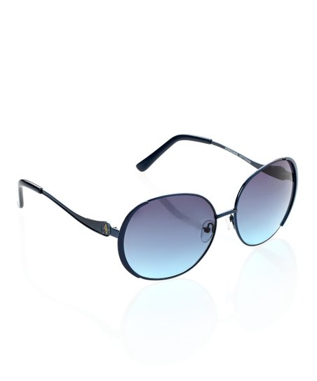 Navy Round Metal Rim Sunglasses