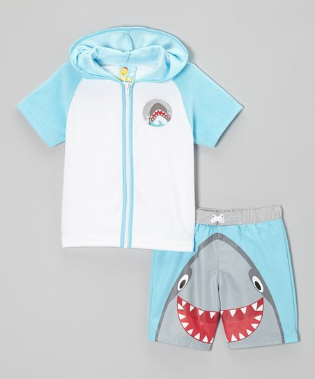 Strato Blue Happy Shark Swim Trunks & Cover-Up - Toddler