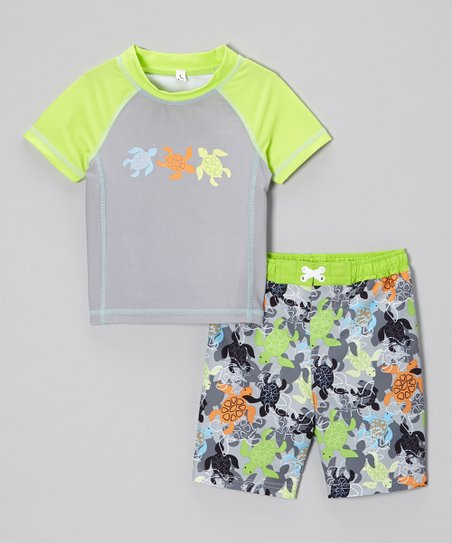 Lime Turtle Rashguard & Swim Trunks - Infant & Toddler