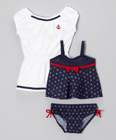 Navy Sail-Love Tankini & Cover-up - Infant & Girls