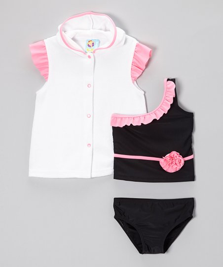 Black Tiffany Rose Tankini & Cover-Up - Infant, Toddler & Girls