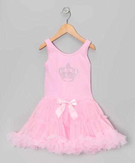 Pink Crown Ruffle Dress - Toddler & Girls