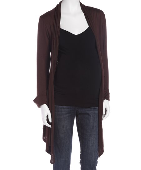 Brown Maternity Open Cardigan