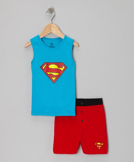 Blue & Red Superman Pajama Set - Boys