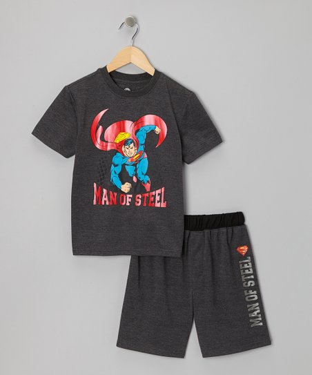 Gray 'Man of Steel' Shorts Pajama Set - Boys