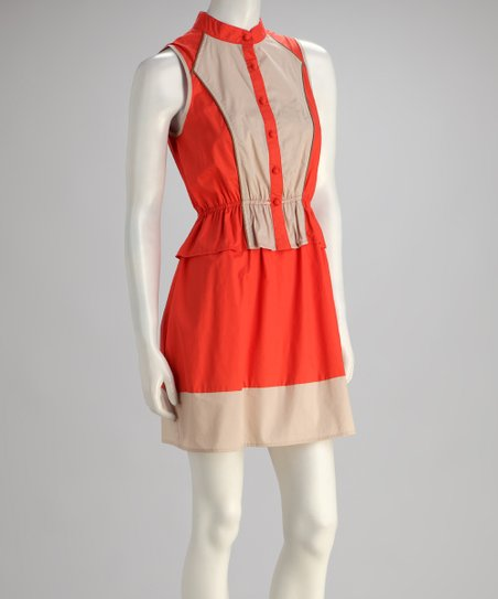 Orange Color-Block Button-Up Sleeveless Dress