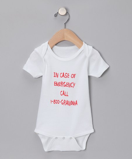 White '1-800-Grandma' Organic Bodysuit - Infant