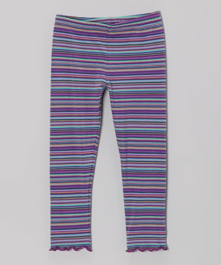 Purple & Teal Stripe Leggings - Infant, Toddler & Girls