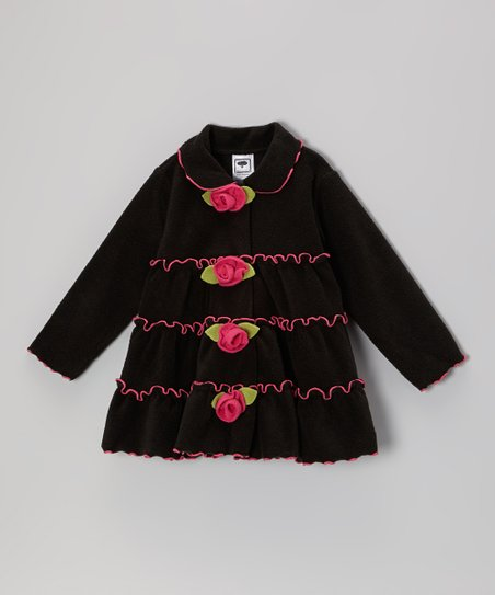Black & Pink Tiered Rose Jacket - Infant, Toddler & Girls