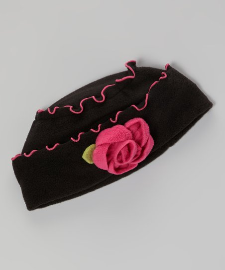 Black & Pink Rose Hat