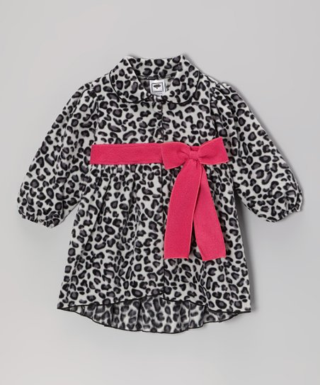 Gray & Fuchsia Leopard Jacket  - Infant, Toddler & Girls