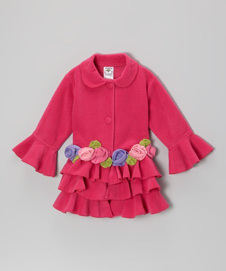 Fuchsia Tiered Ruffle Rose Jacket - Infant, Toddler & Girls