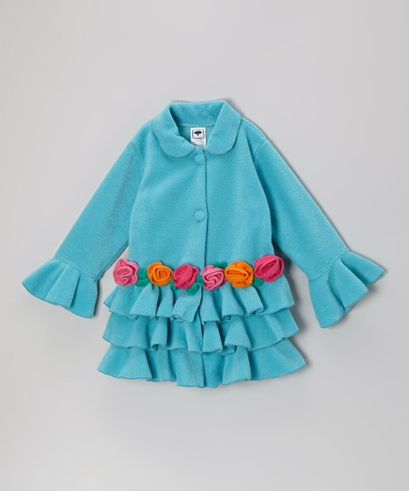 Turquoise Tiered Ruffle Rose Jacket - Infant, Toddler & Girls