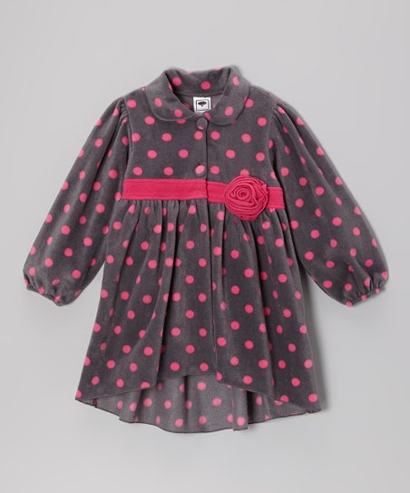 Gray & Pink Polka Dot Jacket - Infant, Toddler & Girls
