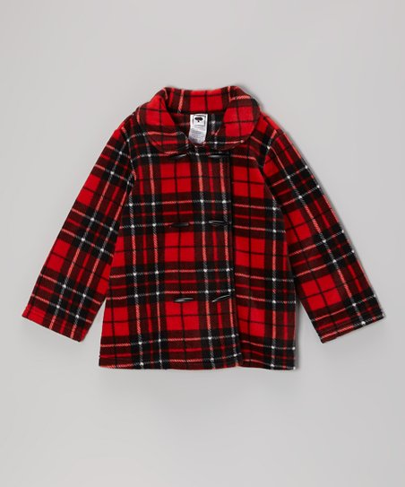 Red & Black Plaid Double Breasted Jacket - Girls