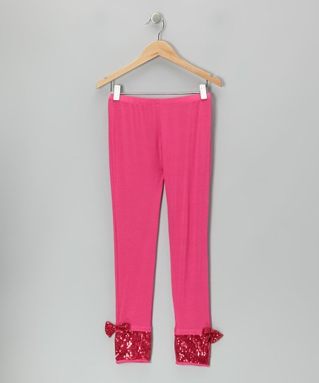 Fuchsia Sequin Bow Leggings - Girls