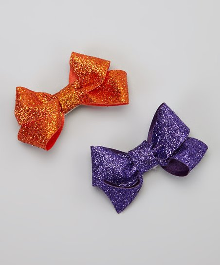 Orange & Purple Glitter Bow Clip Set