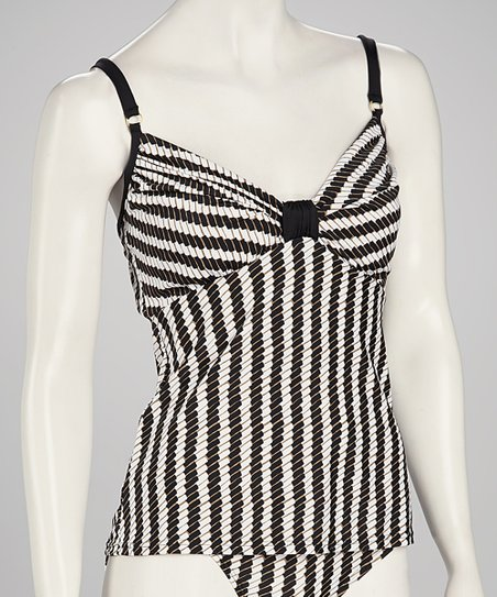 Swim Systems Black & White Underwire Butterfly Tankini Top