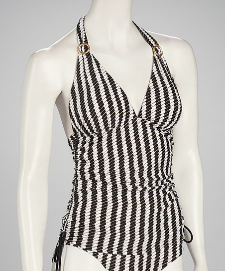 Swim Systems Black & White Side Cinch Tankini Top