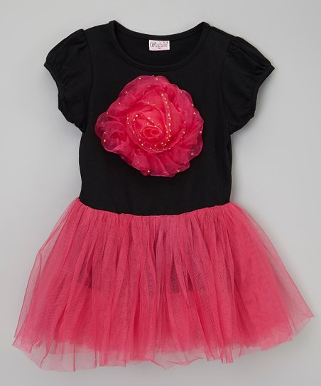 Fuchsia & Black Rose Tutu Dress - Toddler & Girls