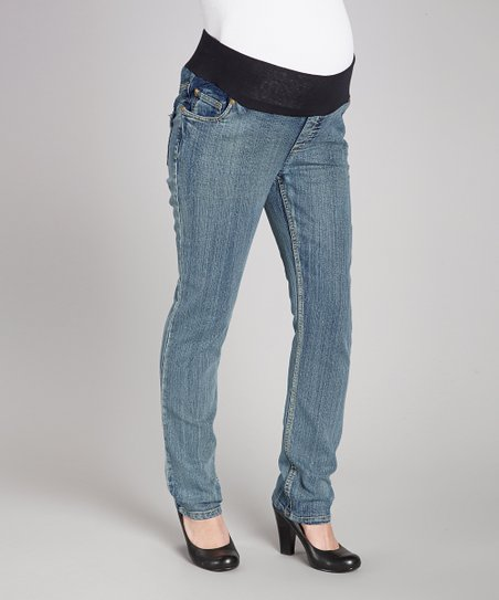 Light Wash Flap Pocket Under-Belly Maternity Cropped Jeans - Wome