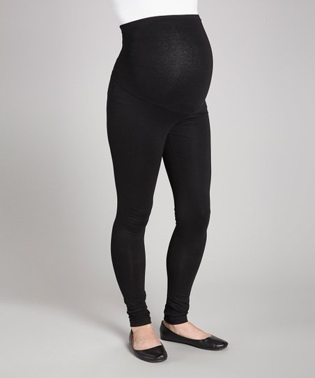 Black Over-Belly Maternity Leggings - Women