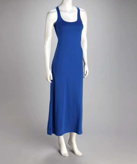 Blue Scoop Neck Maxi Dress