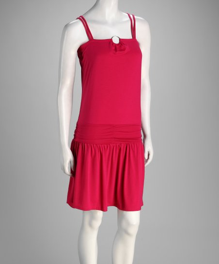 Fuchsia Ruched Drop-Waist Dress