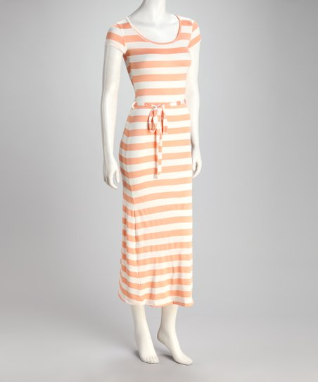 Coral & Ivory Stripe Scoop Neck Maxi Dress