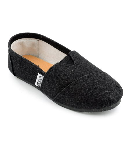 Black Glitter Sues Slip-On Shoe