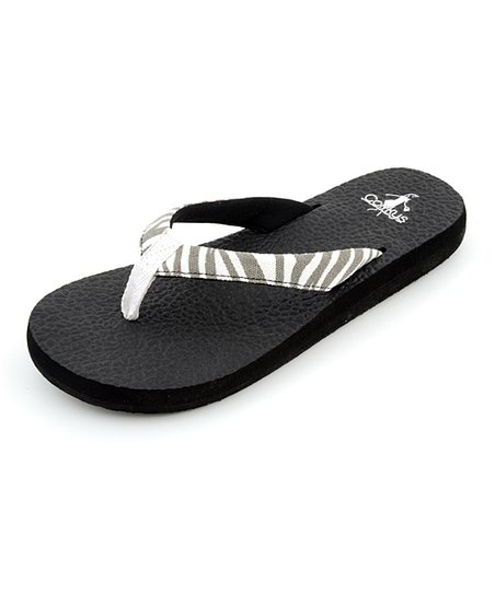 Black & White Zebra Exercise Flip-Flop