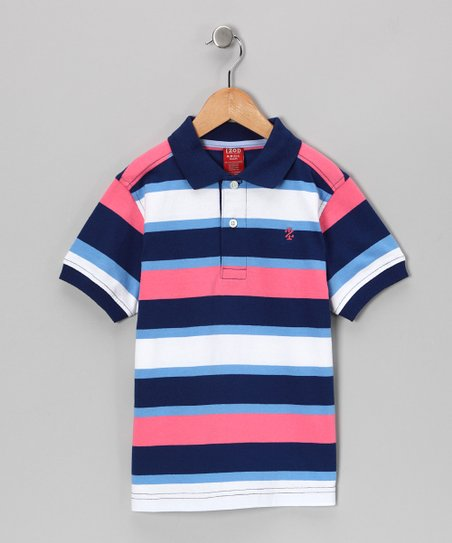 Dark Blue Stripe Polo - Boys