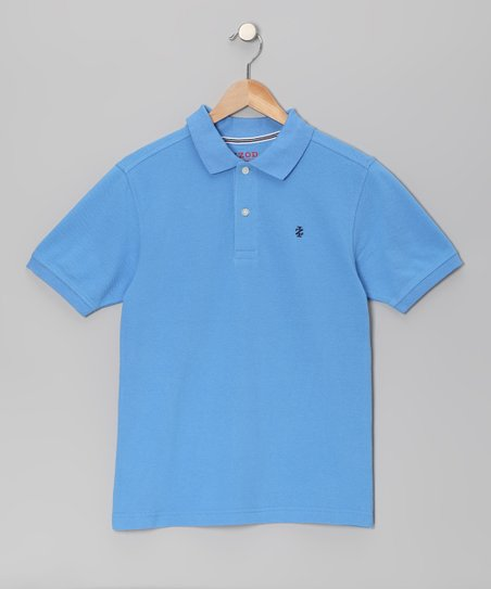 Medium Blue Pique Polo - Boys