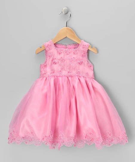 Carnation Bead Embroidered Dress - Infant & Toddler