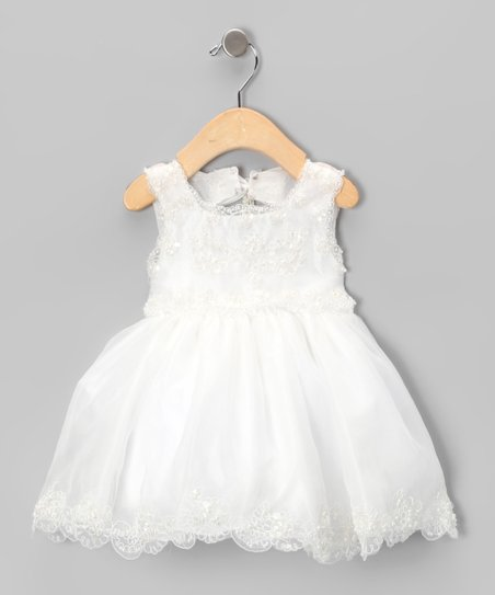 Ivory Bead Embroidered Dress - Infant