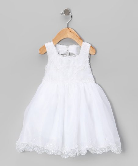 White Bead Embroidered Dress - Infant & Toddler