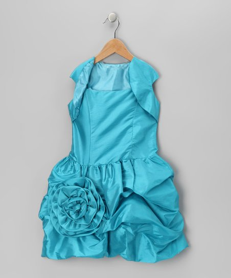 Turquoise Bubble Dress & Shrug - Infant, Toddler & Girls