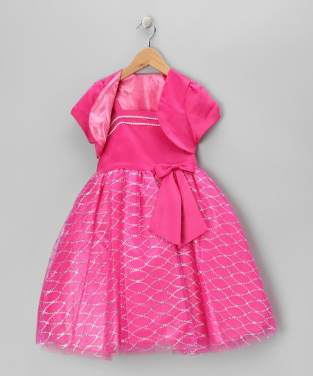 Fuchsia Bow Dress & Shrug - Toddler & Girls